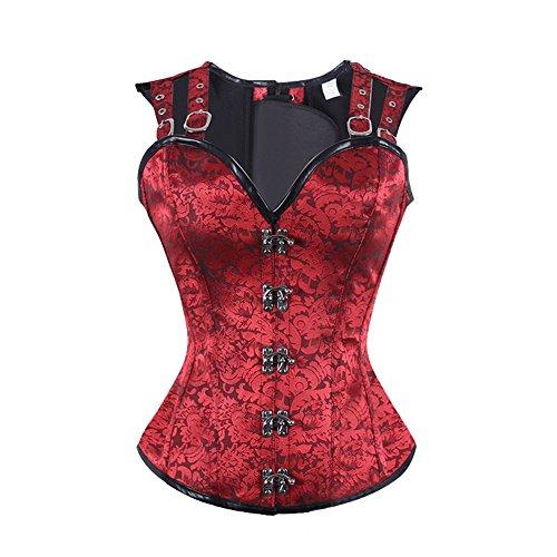 ZAMME Cinturón Topbust de la cintura de las mujeres Top Bustier gótico de Steampunk Rojo