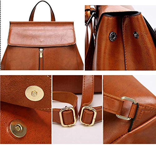 Commuter Donna Fashionable Scuola Borsa Da Ladies Impermeabile Way Leather color Ol Zaino Back A Tracolla Shoulder Brown Nero Bag 3 Luc 6PqvFwyqX