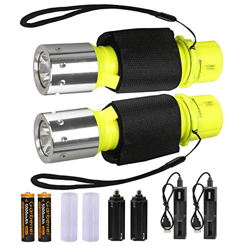 (HeCloud 2 Pack LED XM-T6 Professional Diving Flashlight with Battery Charger, Bright LED Submarine Light Scuba Safety Lights Waterproof Underwater Torch for Outdoor Under Water Sports (Yellow))