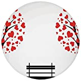 hearth tub - Round Rug Mat Carpet,Tree of Life,Trees with Hearth Shaped Leaves and a Bench Love Romance Nature Design,Black Red White,Flannel Microfiber Non-slip Soft Absorbent,for Kitchen Floor Bathroom