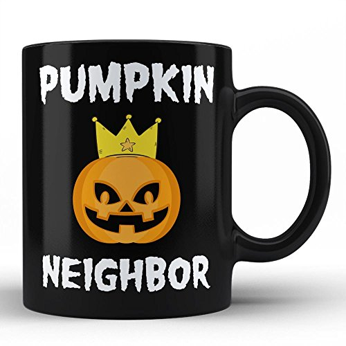 Best Neighbor Ever Mug - Pumpkin Neighbor Ever Halloween Trick or Treat Gifts for Him Birthday Gift Unique Black Funny Coffee Mugs by HOM -