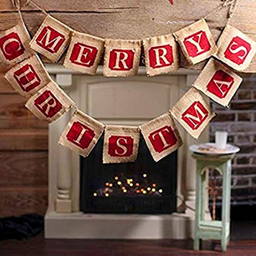 Gotd Merry Christmas Letters Burlap Banner String with 14 pieces Flags Wedding Party Decrations, 12CMX13cm (Red & Brown) for $<!--$6.19-->