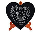 Happy Anniversary Celebratory 10×10 Heart Stone Plaque Couples 40th 50th 25th Anniversy Party Gift WITH STAND Wife Husband First Anniversary Married Stone Sign Decor For Sale