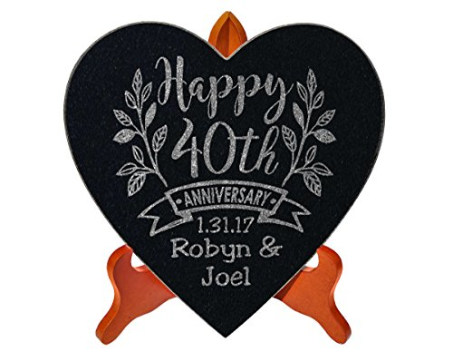 Happy Anniversary Celebratory 10x10 Heart Stone Plaque Couples 40th 50th 25th Anniversy Party Gift WITH STAND Wife Husband First Anniversary Married Stone Sign Decor (Wedding Plaque Ideas)