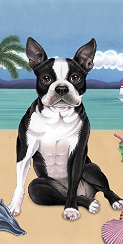 (Boston Terrier - Best of Breed Terry Velour Microfiber Beach Towel 30