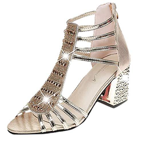 Toimothcn Women's Bridesmaid Pump Shoes High Chunky Heel Casual Fish Mouth Dress Sandal (Gold,US:5) ()