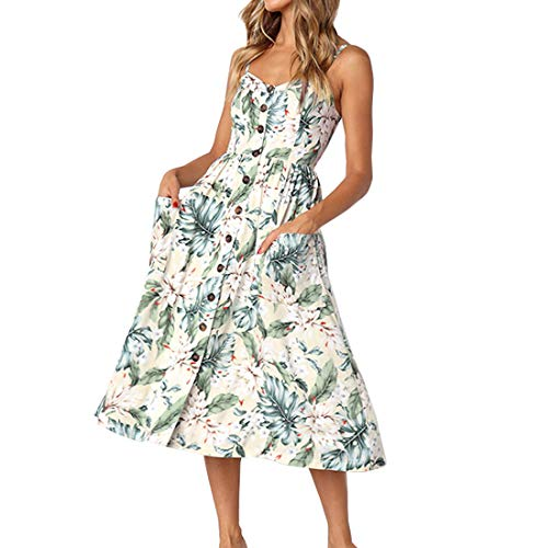 PIZOFF Women's Dresses Summer Palm Leaf Dress Floral Backless Spaghetti Strap Button Down Midi Dress with Pockets AM071-05-L-Z