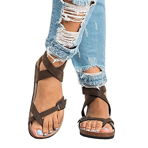 Casual Shoes Summer Flip Brown Womens Bohemian Thong Gladiator Flop Ankle JaneDream Flat Buckle Sandals 7PnwU