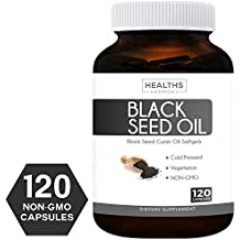 Best Black Seed Oil 120 Softgel Capsules (NON-GMO & Vegetarian) Made from Cold Pressed Nigella Sativa Producing Pure Black Cumin Seed Oil - Made in the USA - 500mg each (1,000mg Per Serving)