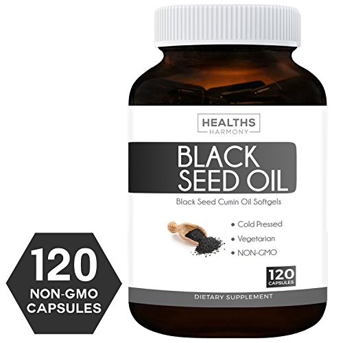 Best Black Seed Oil 120 Softgel Capsules (NON-GMO & Vegetarian) Made from Cold Pressed Nigella Sativa Producing Pure Black Cumin Seed Oil - Made in the USA - 500mg each (1,000mg Per (Listed Free Ship)