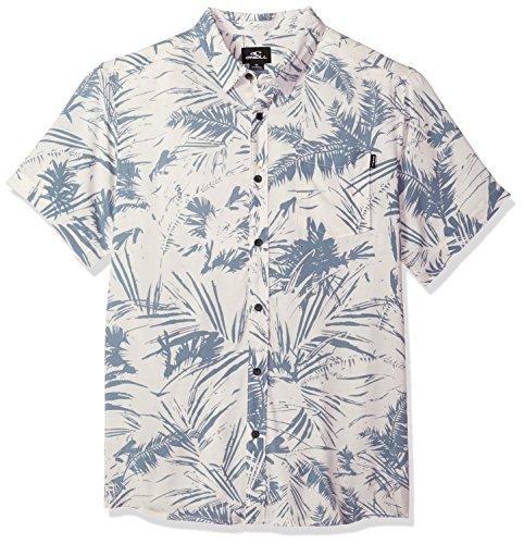Street Shirt Hawaiian (O'Neill Men's Ascher Modern Fit Short Sleeve Woven Shirt, White, S)