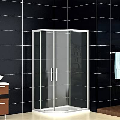AICA cuadrante Ducha Puertas correderas, Perfil de Cristal, Cromo/Transparente, Vidrio, Chrome Profile, Clear Glass, 800x1000mm,Reversible: Amazon.es: Hogar
