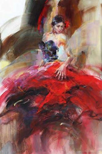 Osm Art Artiste Professionnel Directement Supply Peint A La Main Espagnol Rouge Dance Dress Dancer Peinture A L Huile Sur Toile Danseuse De Flamenco Peinture A L Huile Amazon Fr Cuisine Maison