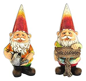 "Set of 2 10"" Garden Gnomes - Welcome Sign and Watering Can"