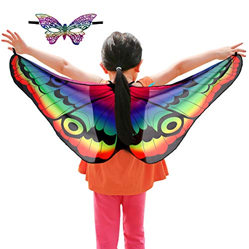 Butterfly Costumes For Children (Butterfly Costume Set, Include Kids Fairy Butterfly Wings Shawl and Butterfly Face Mask for Boys Girls Dress Up Princess Pretend Play Party Favors (Style)