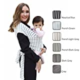 Hatched! Soft Breathable Natural Cotton Baby Sling Wrap Carrier - Soft & Comfortable - Lightweight Carrier Suitable for Infants - Breast Feeding Cover - Stripes (French Light Grey)