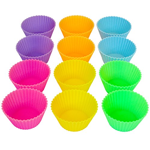 """Sunsella Silicone Baking Cups, Standard Size, 2.6"""" W X 1.3"""" H, 12 Count"""