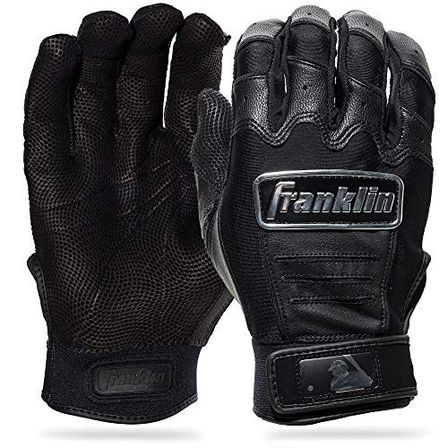 Franklin Sports CFX Pro Full Color Chrome Series Batting Gloves CFX Pro Full Color Chrome Batting Gloves, Black, Adult Large (Best Batting Gloves On The Market)