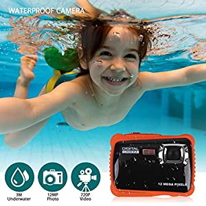 Kids Waterproof Digital Camera,DECOMEN Underwater Action Camera Camcorder with 2.0 Inch LCD Display, 8x Digital Zoom,with 8G SD card by DECOMEN
