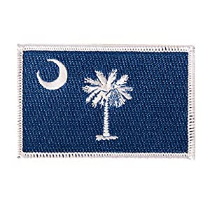 South Carolina Flag Patch Single 3.5Wx2.25H Iron On Sew Embroidered Tactical Morale Back Pack Hat Bags (Single Patch)