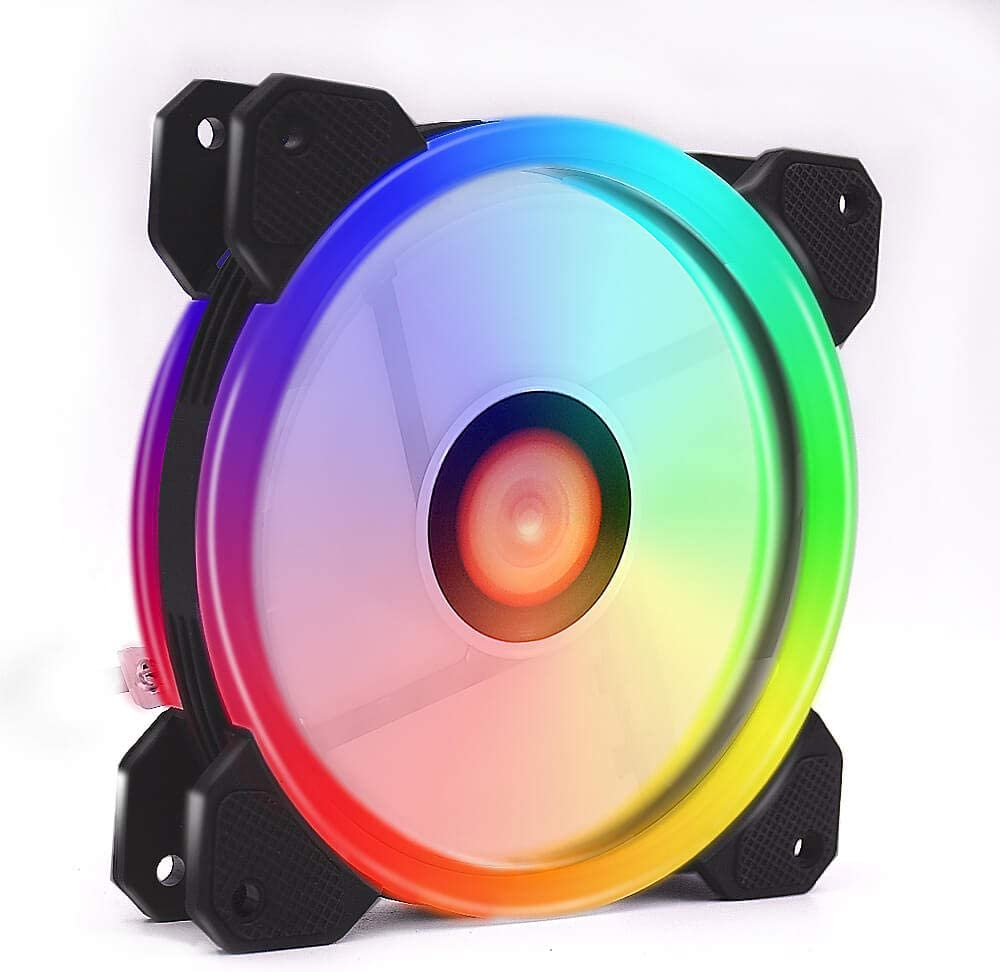 RGB LED PWM Case Fans 120mm, Quiet Edition High Airflow Adjustable Colorful PC Case CPU Computer Cooling with Coolers, Radiators System