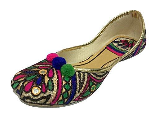 Stap N Stijl Platte Bruids Schoenen Punjabi Jutti Etnische Schoenen Kralen Schoenen Indiase Schoenen
