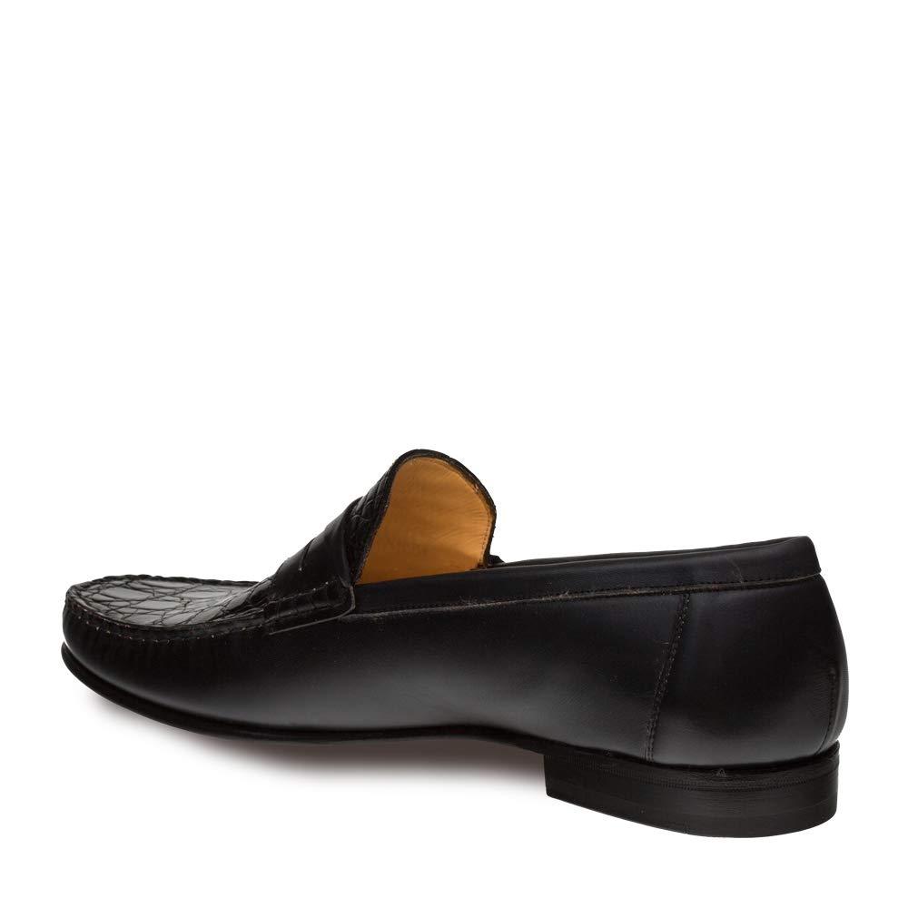 Mezlan SICA Mens Luxury Formal Loafers - Calfskin & Crocodile Slip-On Loafer with Leather Sole - Handcrafted in Spain - Medium Width (10.5, Black) by Mezlan (Image #1)