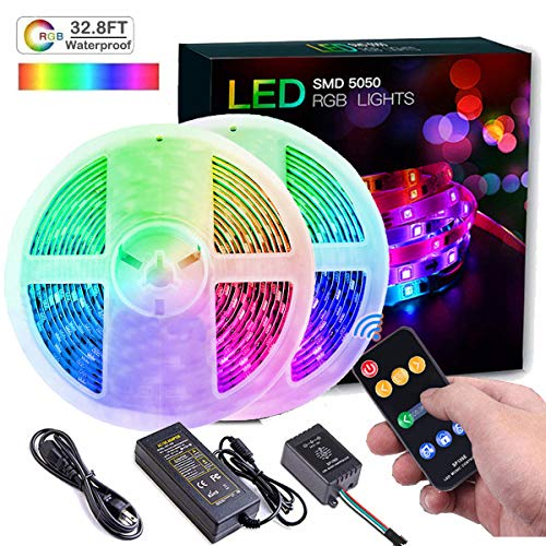 DreamColor LED Strip Lights, Wrrlight 32.8FT/10M 300 LEDs SMD5050 Music Lights Multicolor Waterproof RGB Rope Lights Kit Flexible Led Strip Lighting with RF Remote Controller, 12V UL ()