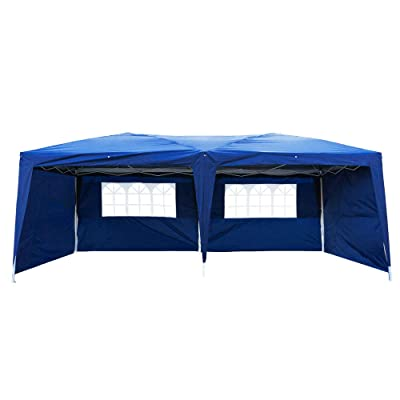 Anshunyin Waterproof Tent 3 x 6m Instant Folding Canopy Tent Party Wedding Event Tent Sun Shelter Outdoor Tent with 4 Side Walls 2 Windows,Patio Event Gazebo Beach Tent,Blue: Sports & Outdoors