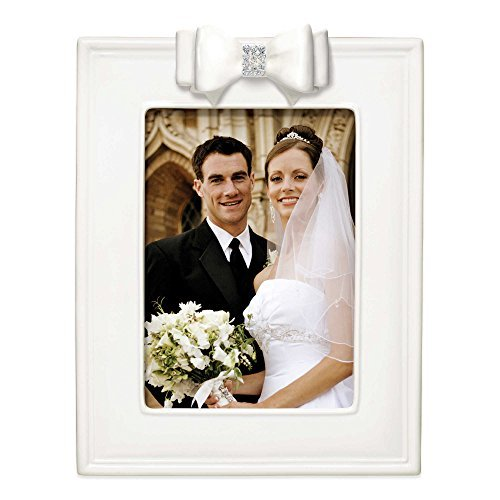Grasslands White Porcelain Wedding Picture Frame with Resin and Crystal Bow 5