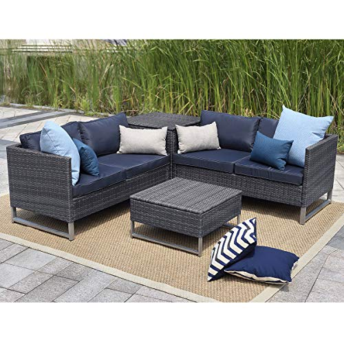 Young Tech Patio Furniture 4 PCS Outdoor Sectional Furniture Set P.E Rattan Conversation Sets wi ...