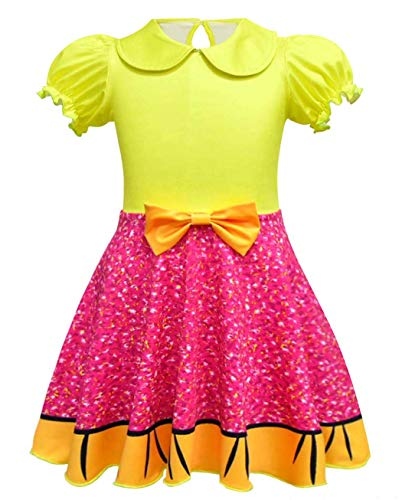 AmzBarley Girls Princess Dress up Toddler Cosplay Glitter Queen Halloween Costume Fancy Party Birthday Outfit Preschool Role Play Clothes Yellow Age 2-3 Years Size 3T -