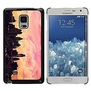 Be Good Phone Accessory // Dura Cáscara cubierta Protectora Caso Carcasa Funda de Protección para Samsung Galaxy Mega 5.8 9150 9152 // City Painting Artist Pink Orange Sunset