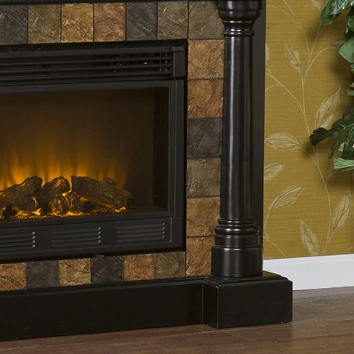 SEI Carrington Convertible Electric Fireplace, Slate/ Black