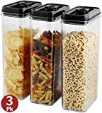 Largest Food Storage Containers 3 piece- Same Size Set 2.8 Lt. Airtight Dry food storage containers with lids Kitchen & Pantry organizing durable clear plastic bpa free food storage containers