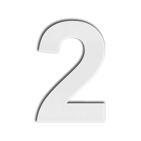 QT Número de Casa Moderna - GRANDE 20 Centímetro - Acero Inoxidable Cepillado (Número 2 Dos), Aspecto Flotante, Fácil de instalar y fabricado en ...