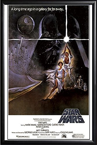 Framed Star Wars - New Hope Episode Iv 24x36 Dry Mount Poster Matte Back Wood