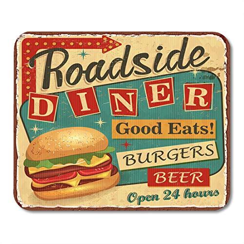 1950 Beer - Emvency Mouse Pads Retro Vintage Roadside Diner Metal Sign Burger 1950S Beer Food Lunch Mousepad 9.5