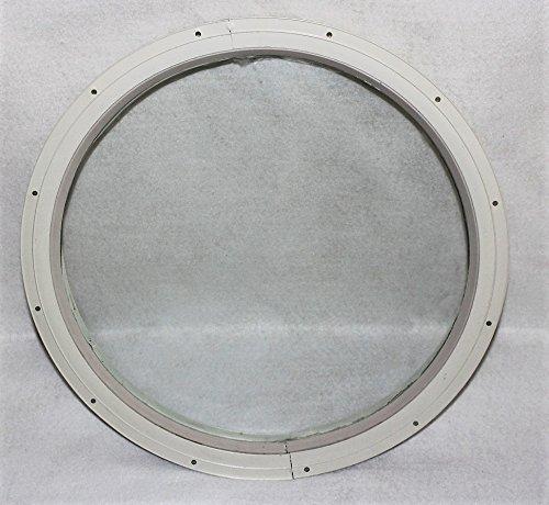 Redondo cobertizo ventana, color blanco pequeño 16