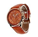 SMTSMT Women's Leather Analog Quartz Wrist Watch-Orange