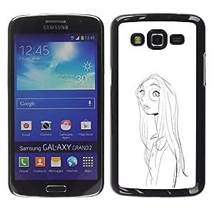 Be Good Phone Accessory // Dura Cáscara cubierta Protectora Caso Carcasa Funda de Protección para Samsung Galaxy Grand 2 SM-G7102 SM-G7105 // Girl Portrait Glasses Pencil Drawing Fac