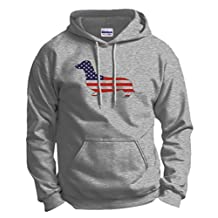 Patriotic Dachshund Doxin Weiner Dog American Flag Hoodie Sweatshirt Large Ash