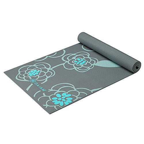 Gaiam Premium Print Yoga Mat, Extra Thick Non Slip Exercise & Fitness Mat for All Types of Yoga, Pilates & Floor Exercises, Icy Blossom, 5/6mm
