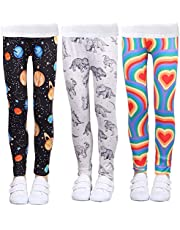 LUOUSE Girls Stretch Leggings Tights Kids Pants Plain Full Length Children Trousers, Age 4-13 Years