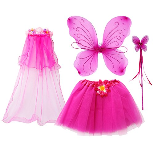 (fedio 4Pcs Girls Princess Fairy Costume Set with Wings, Tutu, Wand and Floral Wreath Veil for Children Ages 3-6 (Hot)