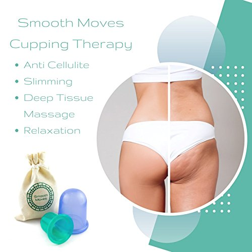 Smooth Moves 2pc Vacuum Cup Therapy Massage Set   Silicon Suction Cupping Set for Cellulite Treatment   Professional Massager Kit at Home   Best Anti Cellulite Treatment