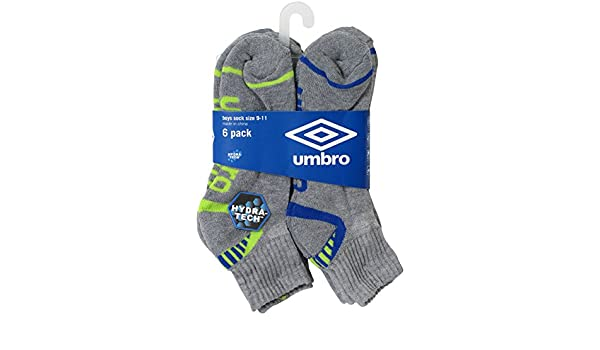 Umbro Boys 6 Pack hydra-tech Athletic Quarter calcetines: Amazon.es: Deportes y aire libre