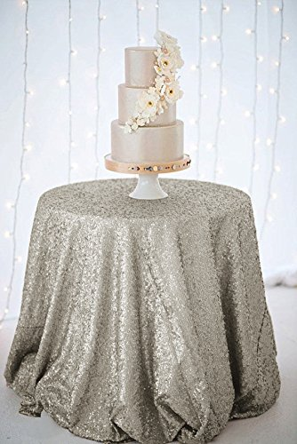 Amazon.com: ShinyBeauty Sequin Tablecloth Grey 48Inch Round Sparkle  Tablecloth,Glitter Table Cloth,Sequin Wedding Tablecloth: Home U0026 Kitchen