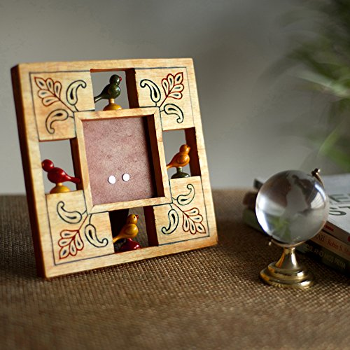 Parrot Photo Frame (ExclusiveLane Parrot Photo Frame With Hand Carving In Wood -Table Photo Frame Picture Frame Side Table Showpiece Table Top Desk Decor)