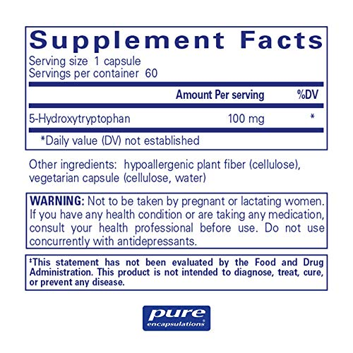 Pure Encapsulations - 5-HTP (5-Hydroxytryptophan) 100 mg - Hypoallergenic Dietary Supplement to Promote Serotonin Synthesis* - 60 Capsules by Pure Encapsulations (Image #1)